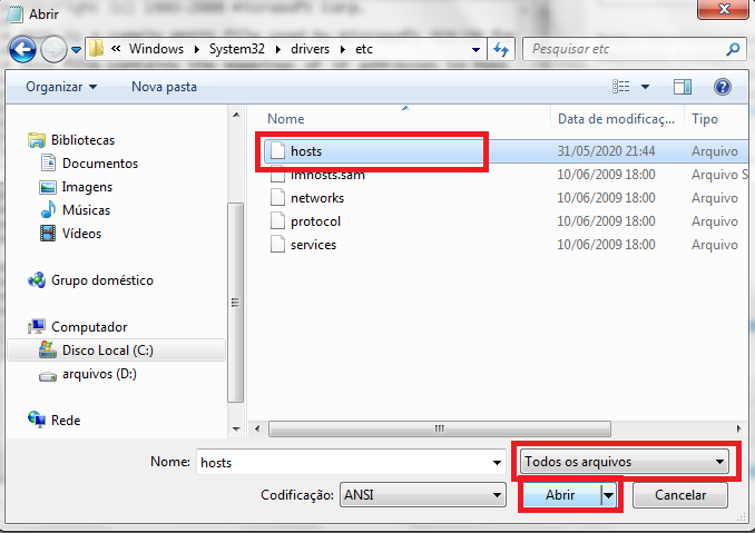 abrindo arquivo host