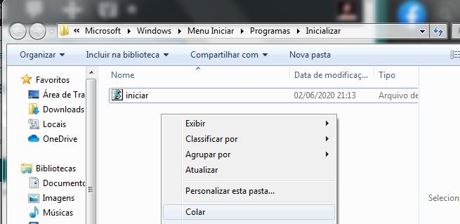pasta inicializar com o arquivo presente